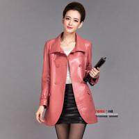 Free shipping 2014 autumn genuine sheepskin leather clothing women's trench medium-long leather single plus size