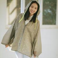 2014 new free shipping yellow star grey fashion adult  raincoat poncho