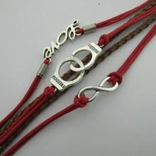 B083 Handcuffs LOVE8 word fashion beautiful hand knitted multi strand leather bracelet wholesale five Christmas B5