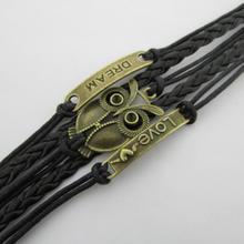 B089 Multi element color owl DREAM LOVE fashion wax cord bracelet 10058 B4 5