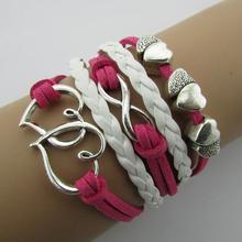 B057  8 multi-strand vintage fashion bright Lipi Sheng word hand-woven bracelets B6(China (Mainland))
