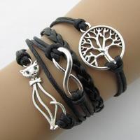 B080 Retro cat trees eight characters stranded fashion handmade bracelet bright Lipi Sheng B5