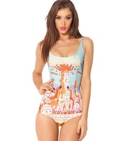 Hot Sale 2014 Sweet Colorful Town Fairy Tale Digital Print Black Milk one piece bikini swimwear bathing suits Swimsuit Beachwear