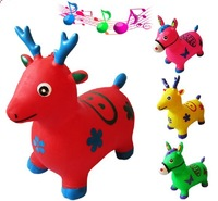 2014 New Inflatable Jump Horse Unisex Toys For Children Plastic Animal Cartoon Music Ride On 1Pcs/Lot Free Shipping