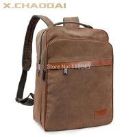 Promotion 2014 New Arrivals Fashion Coffee Large Canvas Rucksack Laptop Double Shoulder Vintage Men School Backpacks Free Ship