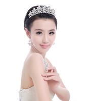 New 2014 Rhinestone Bridal Tiara Crown Wedding Hair Accessories Pageant Crowns Tiaras Diadem Bride Crystal Jewelry Set WIGO0229