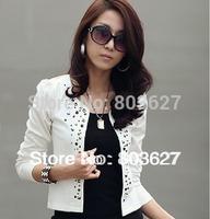 2014 New spring and autumn Women's dress blazer slim plus size coat casual ol rhinestones female short jacket free shipping