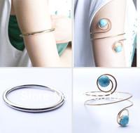 Free shipping !2014 new fashion  silver gold Arm bangle bracelet band swirl  Armband with blue stone BR021