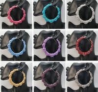 Free shipping! 5pair (10Pcs) Basketball Wives Earring Big Hoop Circle Rhinestone Crystal Dangle Stud Bamboo Wholesale Lot EH005