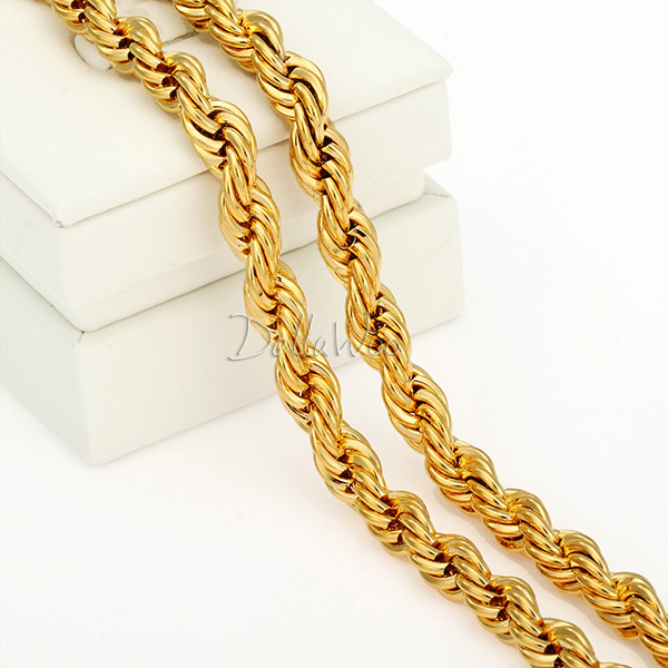 7MM ROPE Chain Mens Womens Necklace 18K Gold Filled Necklace S Hook Clasp 18KGF Wholesale Bulk Jewelry Gift(China (Mainland))