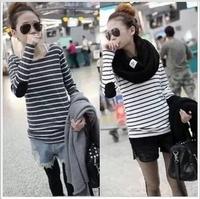 2014 New Fashion Women  Slim Primer Shirt Striped Long-sleeved  All-match Plus Size Tops & Tees T-shirts  2 Colors M/L/XL/XXL