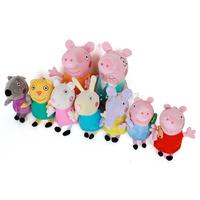 9PCS/SET Pepa Peppa Pig Family Stuffed Plush Toys Dog Cat Sheep Rabbit Elephant 5PCS/SET Peppa Pig Friends Set Doll