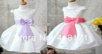 Girl's Ocasion Dress Formal Dress White Elegant Baby Kids Wedding Dress With Bow-not Chaton Decoration Girls Party Dress