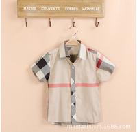 New 2014 baby boys summer shirt Brand plaid shirt High quality childrens clothing t-shirt Fashion boys clothing boys shirts 217