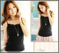 2014 New Fashion Lace Cotton Candy Colors All-match Camis Tops Tees T-shirts QC 14170