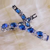 Wholesale Exquisite Endearing Sapphire Quartz White Topaz  Silver Bracelet Fashion Jewelry For Gift