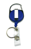 Freeshipping Wholesale Carabiner Style Retractable ID Card Reel Split Ring Strap Clip Blue Color Pack of 10