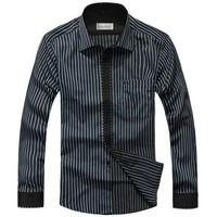 M-XXXL Good Quality Free Shipping 2014 New Fashion Leisure Concise Stripe Men's Casual Long Sleeve Shirts