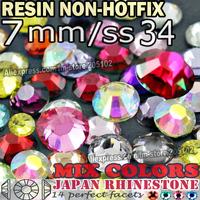 7MM SS34,Mix Colors Big Crystals 350pcs/bag Resin Non HotFix FlatBack Rhinestones for Decoration Nail Glitters strass stones DIY