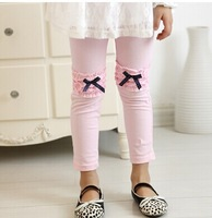 2014 Children's clothing  Girl child Autumn spring legging 100% cotton elastic lace female child candy color skinny pants