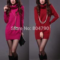 2014 spring &autumn women's loose long-sleeve turtleneck sweater medium-long basic shirt pullover outwear dress
