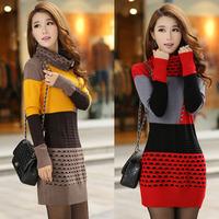 2014 spring&autumn turtleneck slim medium-long long sleeve woman knitted sweater dress size free