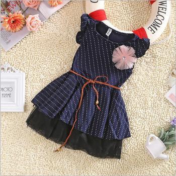 Девушки платья 2015 новинка Высокое качество темно-синий короткий рукав точки полоса цветочные дети девушка платье с поясом летом 1 шт. 2-7Y