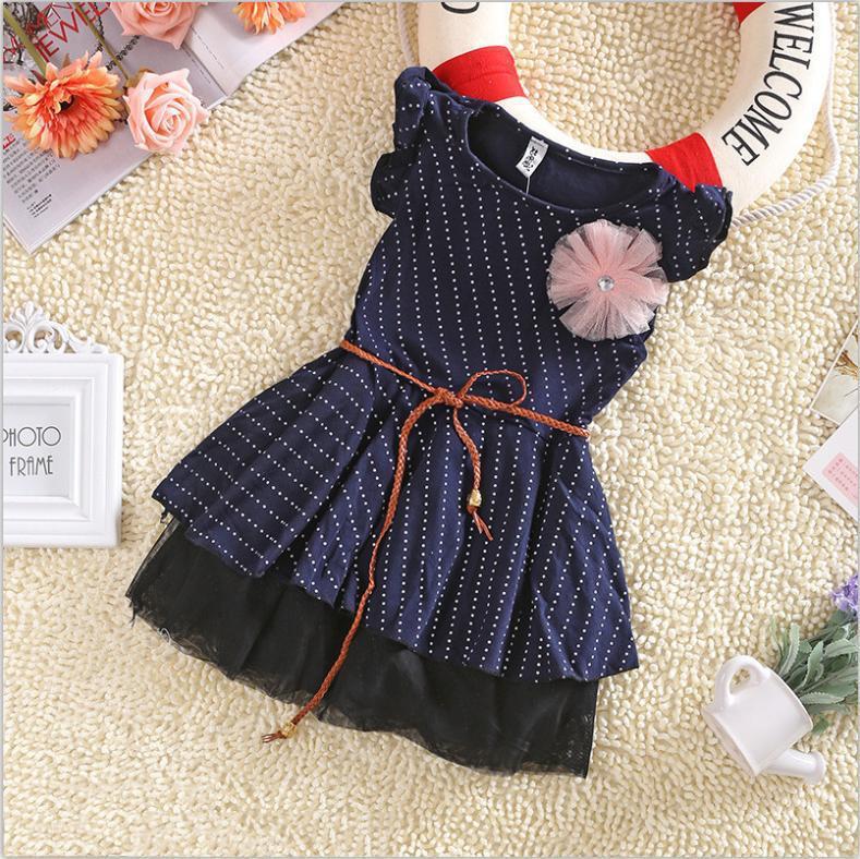 Girls Dresses 2015 New Fashion Top Quality Dark Blue Short Sleeve Dots Stripe Flower Kids Girl Dress with Belt summer 1pc 2-7Y(China (Mainland))