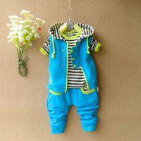Wholesale 2014 New Spring Sport Suit Kids Clothes Sets Children Hoodies + Vest + Kids Pants 3pieces Outfits Boy Clothing Set