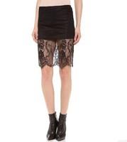 Women Crochet  Lace Skirt DecorationsTassels Perspective Knee Length High Waist Midi Pencil Skirts Black Office Skirts Spring