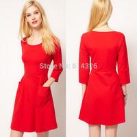 Free Shipping New Sexy Casual Women Dress Elegant O-neck 3/4 Sleeve Knee-length Knit Dresses 2014 Winter Dress