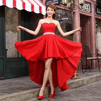 Free shipping! New Arrival Fashion Tube Top Sexy Dresses Married StraplessThe Bride Clothing Full Dress White Red  Evening Dress