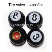 4pcs/lot 8black ball Tire Valve Universal Tyre valve Stem Cap Car Auto Pressure Monitor Valve Stem Caps Free Shipping