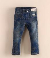 Retail fashion cool cotton denim girls flower printing jeans brand children's long pants for 2-7 years kids girls pants 1pcs