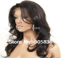 African american black loose wavy full lace  human hair wig