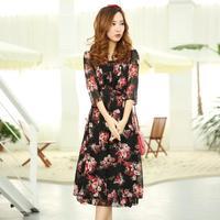 spring 2014 cocktail dresses, girl dress, cute dress, sophisticated chiffon print dress, vestidos casual free shipping