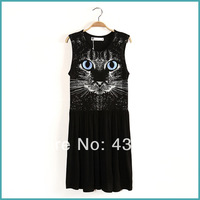 The New 2014 Cat Face European Style Wild Nature Pure Cotton Round Collar Sleeveless Dress