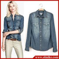 Hot sale European style women denim blouse slim jeans shirt lady's elegant quality blouse 2014 spring fashion denim blouse WA435