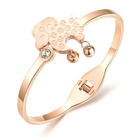 Rose gold stainless steel bracelet Horse shape with crystal jewelry for lady  Lucky Gift 685