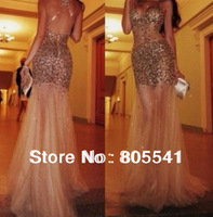 Actual Images 2014 New Sexy Sheath See Through Sleeveless Full Of Beading Satin Sheer Elegant Long Prom Dress PD14021102