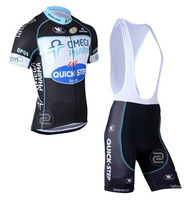 2014 New quick step Short Sleeve Cycling Jersey /Bike Bicycle Wear With  Bib Shorts Suits Size :S~XXXL