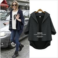 L~5XL European Style Women Plus Size 3/4 Batwing Sleeve Autumn Winter Thickening Woolen Cardigan Coats Irregular Fashion Jackets
