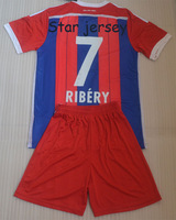 14 15 RIBERY 7 home embroidery quality soccer jerseys uniforms(shirts + shorts) ,RIBERY shirts + can custom names