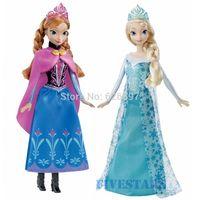 100% Genuine Original Brand Frozen Sparkle Princess Elsa and  Anna  Dolls for Girls Christmas New Year Birthday Gift Baby Toys