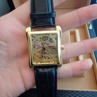 Relogio Masculino Relojes black leather Gold Skeleton Hand Wind Mechanical Watch square Unisex Women dress Watches Brand Winner