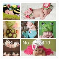 Wholesale Factory Princess baby Animal Costume Set handmade Children Knit crochet photography props hats Newborn 0-6Month