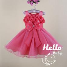 Big arco Rose festa vermelho / vestidos de festa primeira comunhão / vestido de páscoa para recém-nascido / Infantil flor baby girl vestidos 4 ~ 24M 60489(China (Mainland))