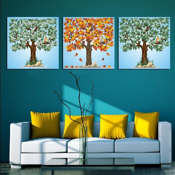 3 Piece frete grátis venda quente parede moderna casa pintura de arte decorativa Imagem Pintura em Tela Canvas ramos de árvore do pássaro(China (Mainland))