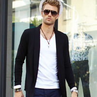 2014 spring new men's long-sleeved T-shirt menswear big stars retro cardigan jacket