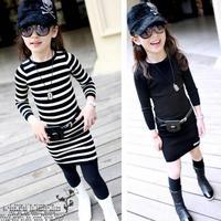 Children's clothing spring 2015 girl brief elegant black and white stripe soft long design sweater long-sleeve basic